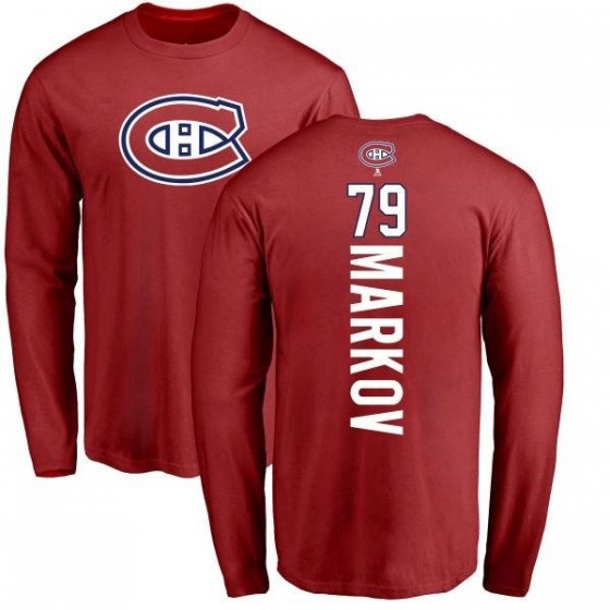 Men's Andrei Markov Montreal Canadiens Backer Long Sleeve T-Shirt - Red