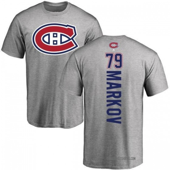 Men's Andrei Markov Montreal Canadiens Backer T-Shirt - Ash
