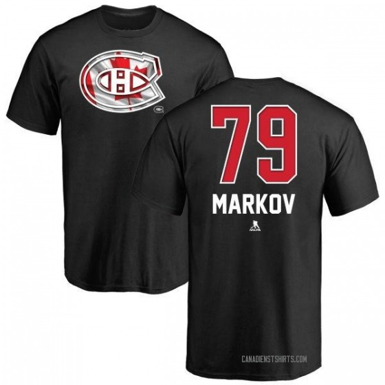 Men's Andrei Markov Montreal Canadiens Name and Number Banner Wave T-Shirt - Black