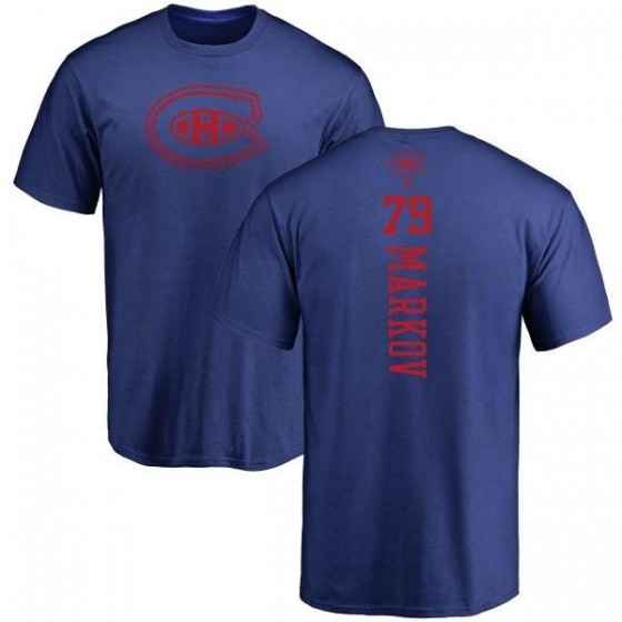 Men's Andrei Markov Montreal Canadiens One Color Backer T-Shirt - Royal