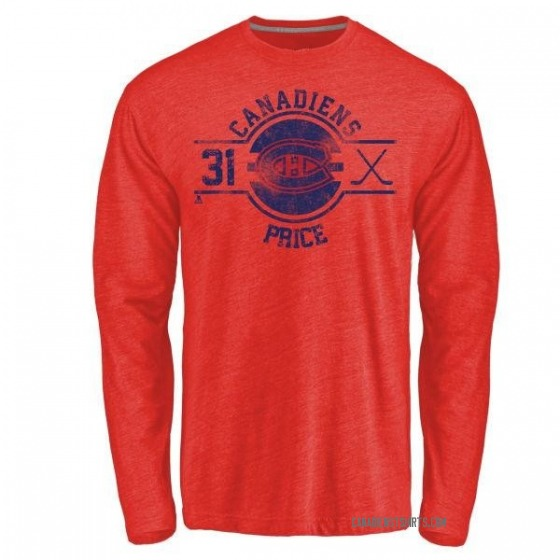 Men's Carey Price Montreal Canadiens Insignia Tri-Blend Long Sleeve T-Shirt - Red