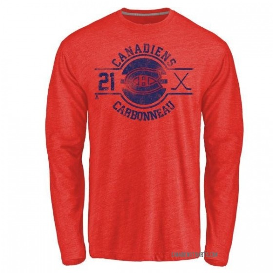 Men's Guy Carbonneau Montreal Canadiens Insignia Tri-Blend Long Sleeve T-Shirt - Red