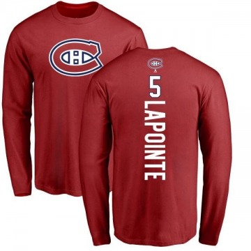 Men's Guy Lapointe Montreal Canadiens Backer Long Sleeve T-Shirt - Red