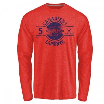 Men's Guy Lapointe Montreal Canadiens Insignia Tri-Blend Long Sleeve T-Shirt - Red