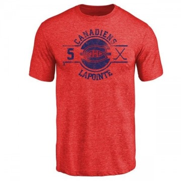 Men's Guy Lapointe Montreal Canadiens Insignia Tri-Blend T-Shirt - Red