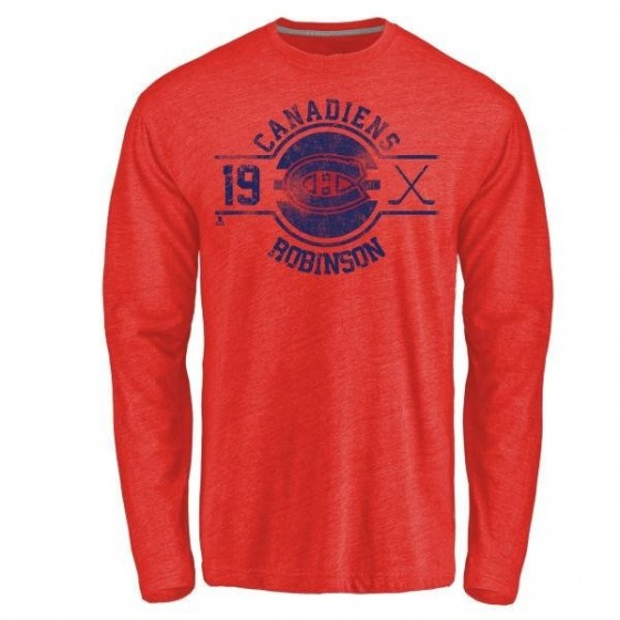 Men's Larry Robinson Montreal Canadiens Insignia Tri-Blend Long Sleeve T-Shirt - Red