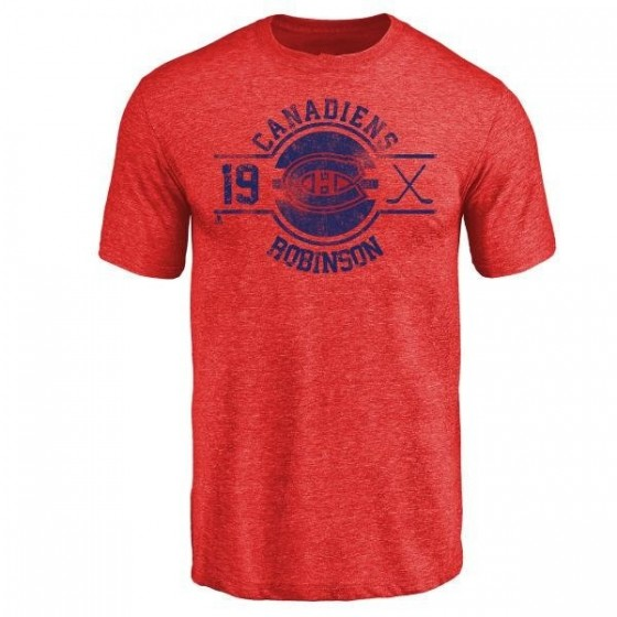Men's Larry Robinson Montreal Canadiens Insignia Tri-Blend T-Shirt - Red