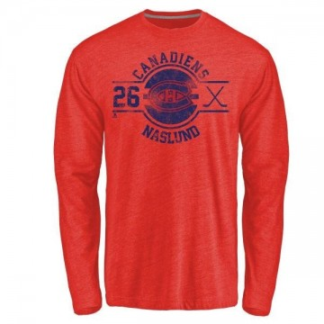 Men's Mats Naslund Montreal Canadiens Insignia Tri-Blend Long Sleeve T-Shirt - Red