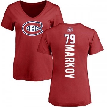 Women's Andrei Markov Montreal Canadiens Backer T-Shirt - Red