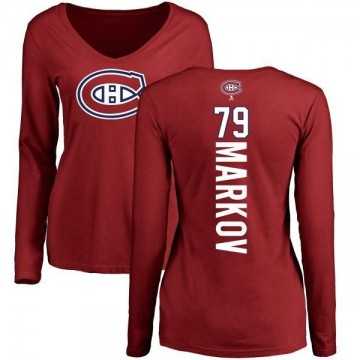 Women's Andrei Markov Montreal Canadiens Backer V-Neck Long-Sleeve T-Shirt - Red