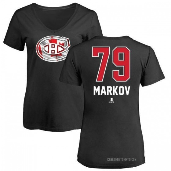 Women's Andrei Markov Montreal Canadiens Name and Number Banner Wave V-Neck T-Shirt - Black