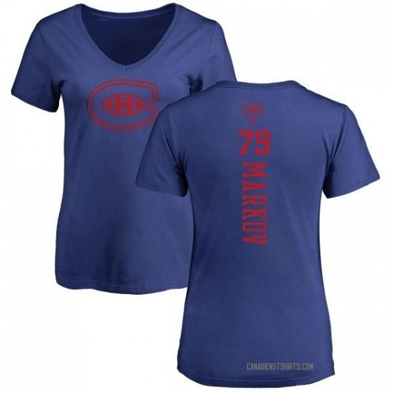 Women's Andrei Markov Montreal Canadiens One Color Backer T-Shirt - Royal
