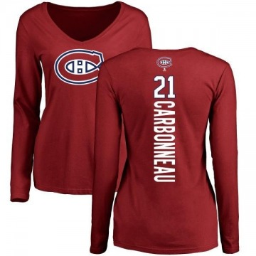 Women's Guy Carbonneau Montreal Canadiens Backer V-Neck Long-Sleeve T-Shirt - Red