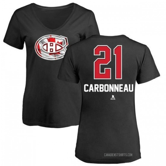 Women's Guy Carbonneau Montreal Canadiens Name and Number Banner Wave V-Neck T-Shirt - Black