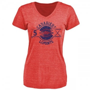 Women's Guy Lapointe Montreal Canadiens Insignia Tri-Blend T-Shirt - Red