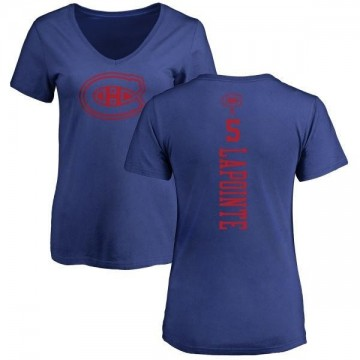 Women's Guy Lapointe Montreal Canadiens One Color Backer T-Shirt - Royal